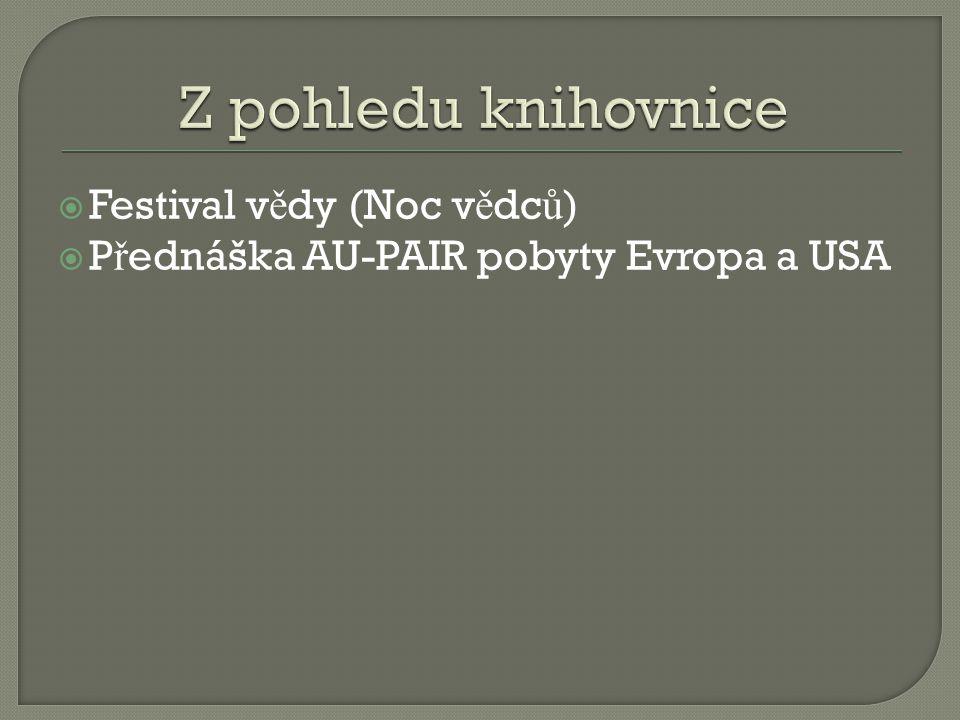  Festival v ě dy (Noc v ě dc ů )  P ř ednáška AU-PAIR pobyty Evropa a USA