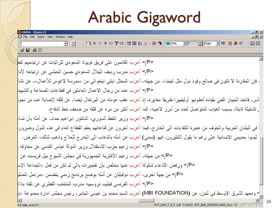 Arabic Gigaword 20