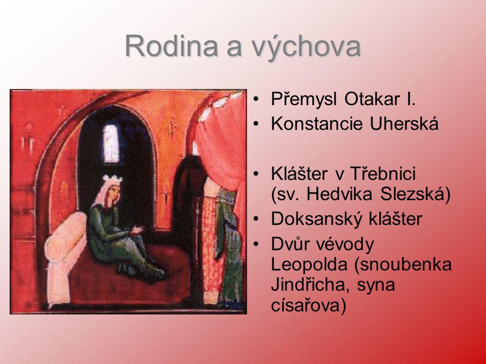 Rodina a výchova Přemysl Otakar I. Konstancie Uherská Klášter v Třebnici (sv. Hedvika Slezská) Doksanský klášter Dvůr vévody Leopolda (snoubenka Jindř