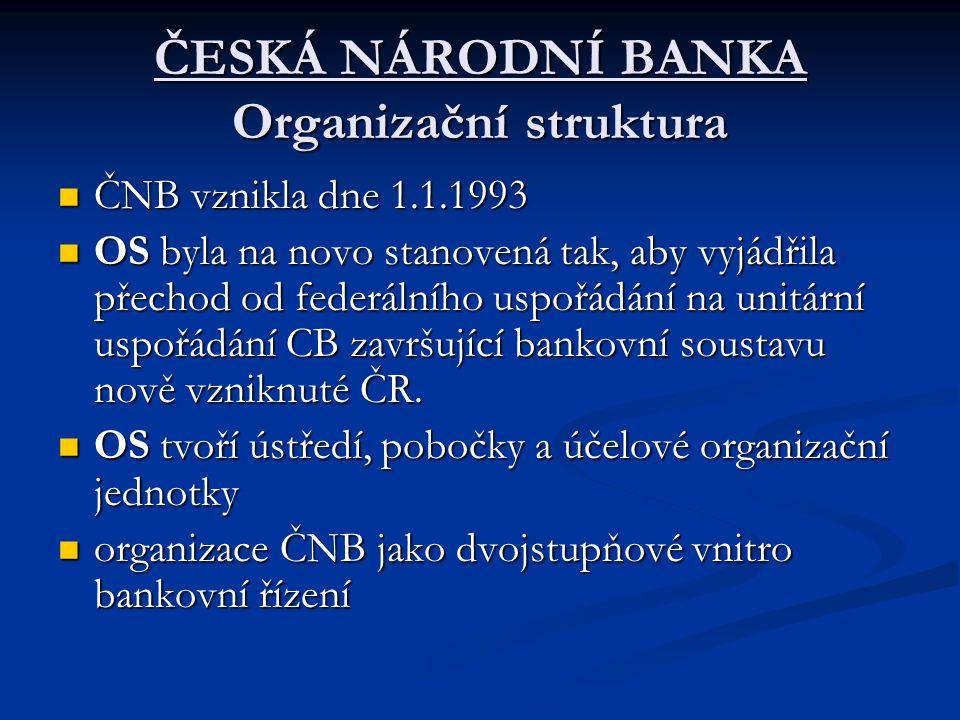 ČESKÁ NÁRODNÍ BANKA Organizační struktura ČNB vznikla dne 1.1.1993 ČNB vznikla dne 1.1.1993 OS byla na novo stanovená tak, aby vyjádřila přechod od fe