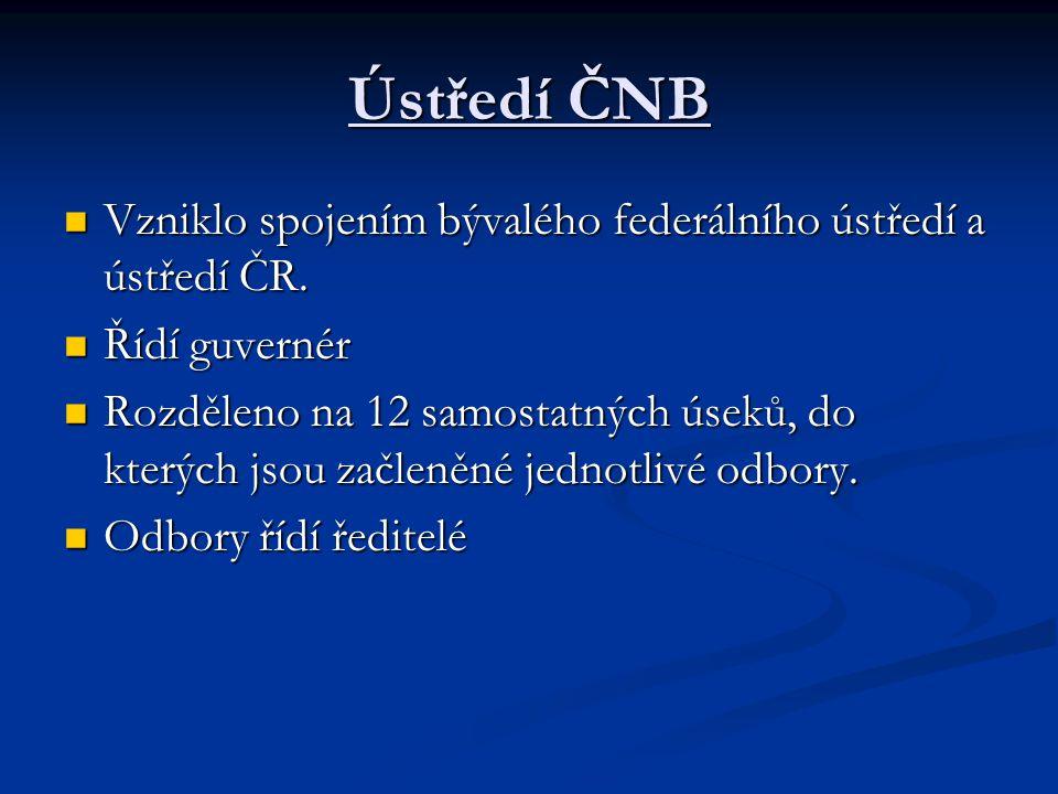 Ústředí ČNB Vzniklo spojením bývalého federálního ústředí a ústředí ČR. Vzniklo spojením bývalého federálního ústředí a ústředí ČR. Řídí guvernér Řídí