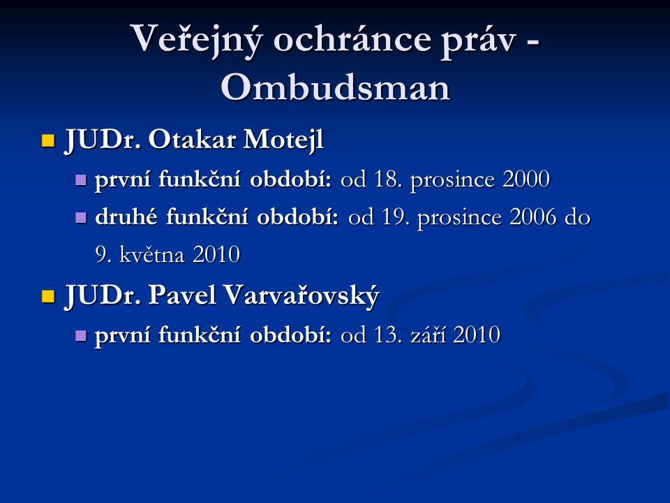Veřejný ochránce práv - Ombudsman JUDr. Otakar Motejl JUDr. Otakar Motejl první funkční období: od 18. prosince 2000 první funkční období: od 18. pros