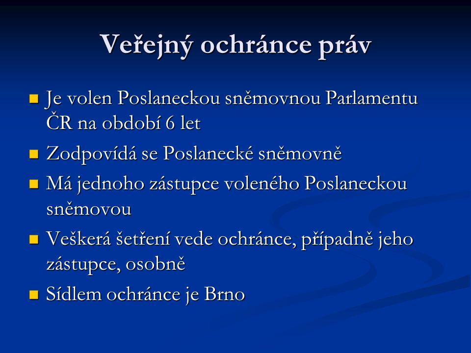 Veřejný ochránce práv Je volen Poslaneckou sněmovnou Parlamentu ČR na období 6 let Je volen Poslaneckou sněmovnou Parlamentu ČR na období 6 let Zodpov