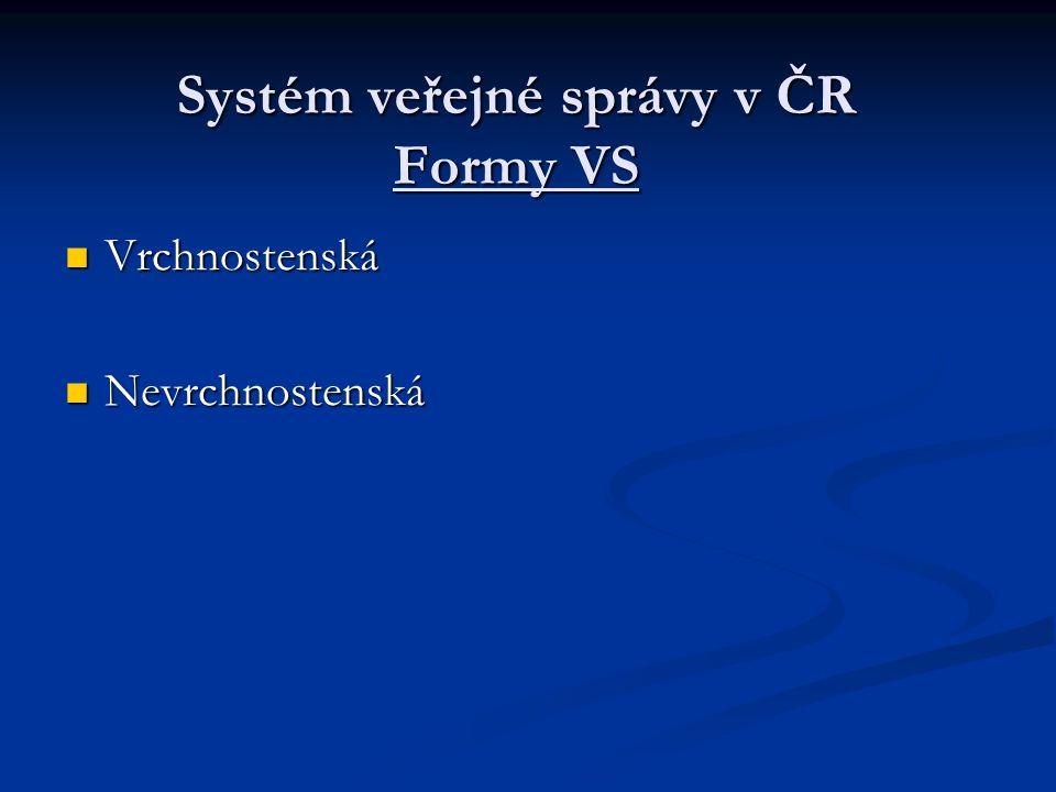 Systém veřejné správy v ČR Formy VS Vrchnostenská Vrchnostenská Nevrchnostenská Nevrchnostenská