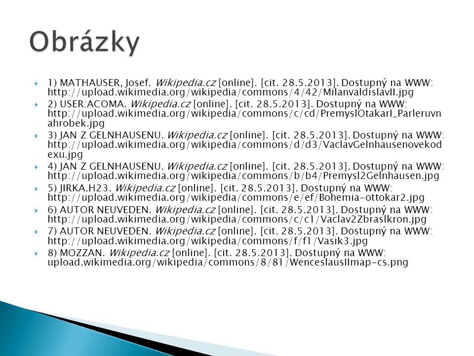  1) MATHAUSER, Josef. Wikipedia.cz [online]. [cit. 28.5.2013]. Dostupný na WWW: http://upload.wikimedia.org/wikipedia/commons/4/42/MilanvaldislavII.j