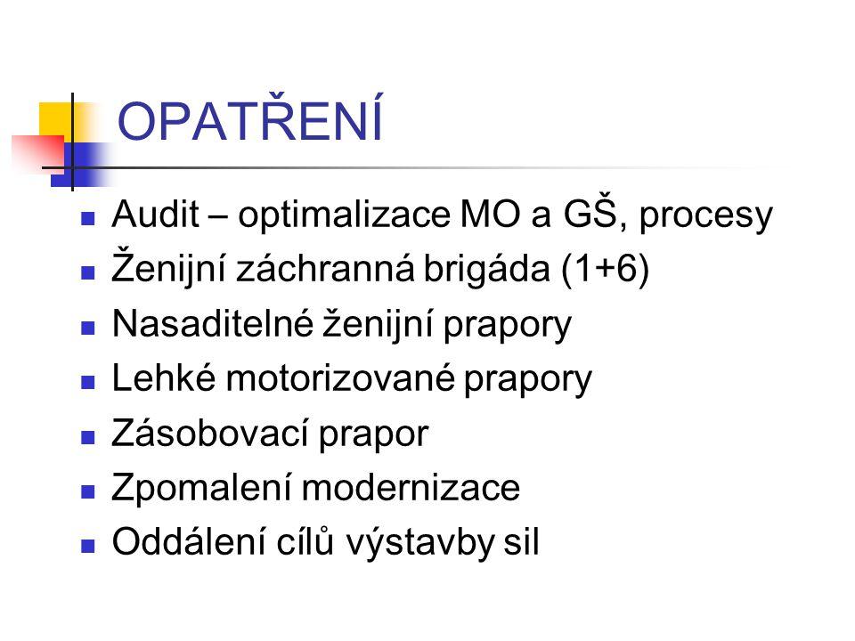 OPATŘENÍ Audit – optimalizace MO a GŠ, procesy Ženijní záchranná brigáda (1+6) Nasaditelné ženijní prapory Lehké motorizované prapory Zásobovací prapor Zpomalení modernizace Oddálení cílů výstavby sil