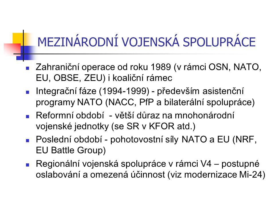 MEZINÁRODNÍ VOJENSKÁ SPOLUPRÁCE Zahraniční operace od roku 1989 (v rámci OSN, NATO, EU, OBSE, ZEU) i koaliční rámec Integrační fáze (1994-1999) - především asistenční programy NATO (NACC, PfP a bilaterální spolupráce) Reformní období - větší důraz na mnohonárodní vojenské jednotky (se SR v KFOR atd.) Poslední období - pohotovostní síly NATO a EU (NRF, EU Battle Group) Regionální vojenská spolupráce v rámci V4 – postupné oslabování a omezená účinnost (viz modernizace Mi-24)