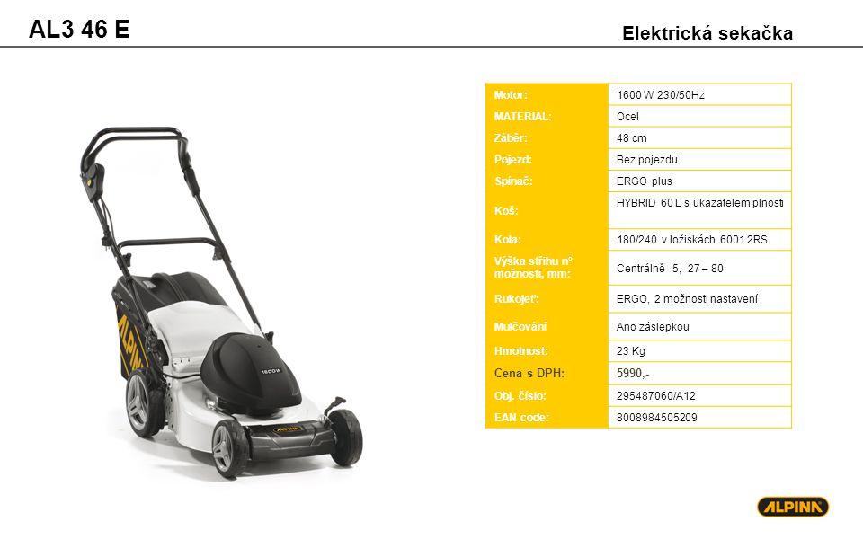 AL3 46 E Elektrická sekačka Motor:1600 W 230/50Hz MATERIAL:Ocel Záběr:48 cm Pojezd:Bez pojezdu Spínač:ERGO plus Koš: HYBRID 60 L s ukazatelem plnosti
