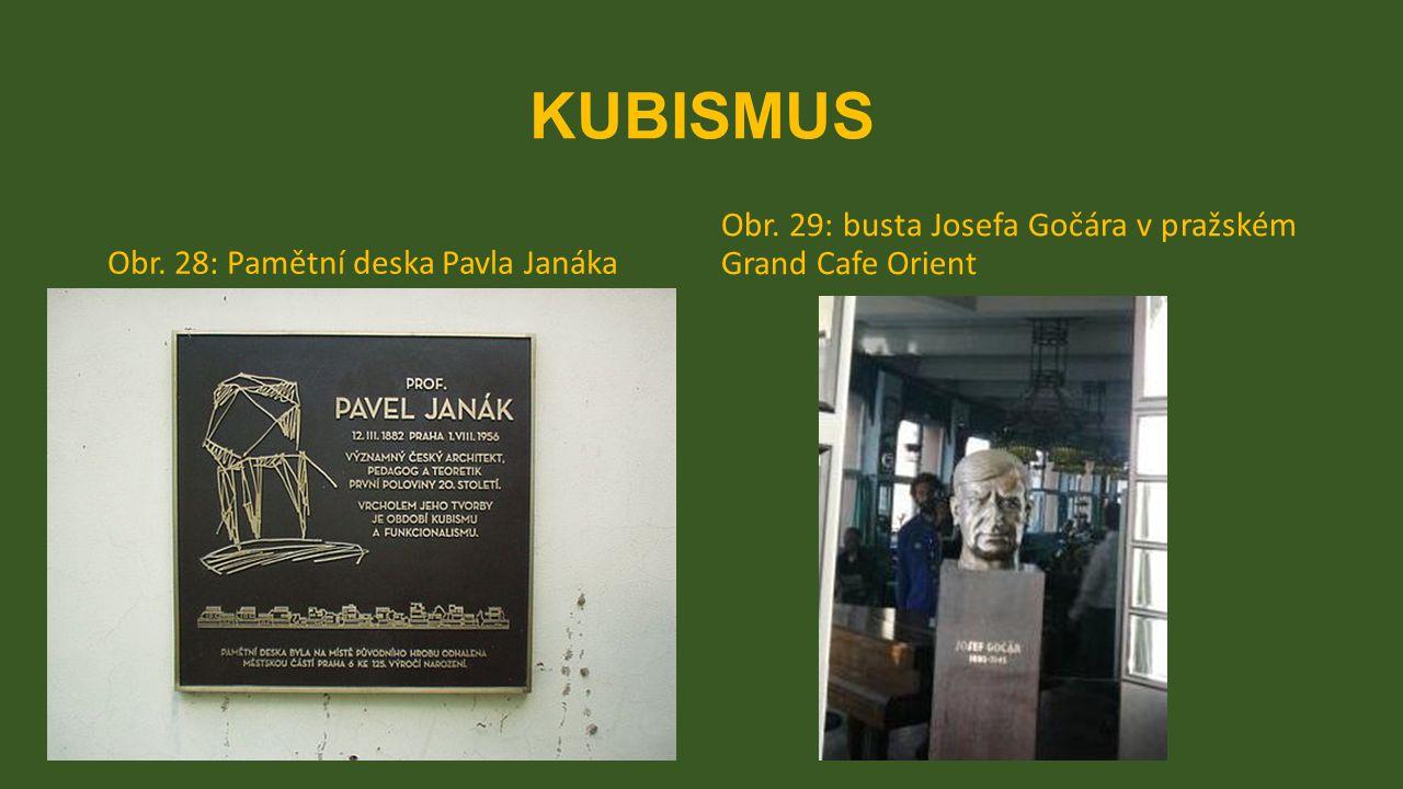 KUBISMUS Obr. 28: Pamětní deska Pavla Janáka Obr. 29: busta Josefa Gočára v pražském Grand Cafe Orient