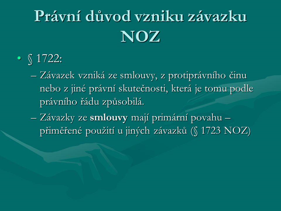 Právní důvod vzniku závazku NOZ § 1722:§ 1722: –Závazek vzniká ze smlouvy, z protiprávního činu nebo z jiné právní skutečnosti, která je tomu podle právního řádu způsobilá.