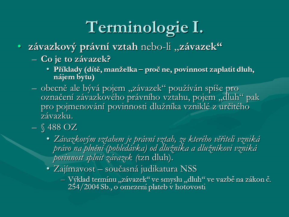 """Terminologie I. závazkový právní vztah nebo-li """"závazek""""závazkový právní vztah nebo-li """"závazek"""" –Co je to závazek? Příklady (dítě, manželka – proč ne"""