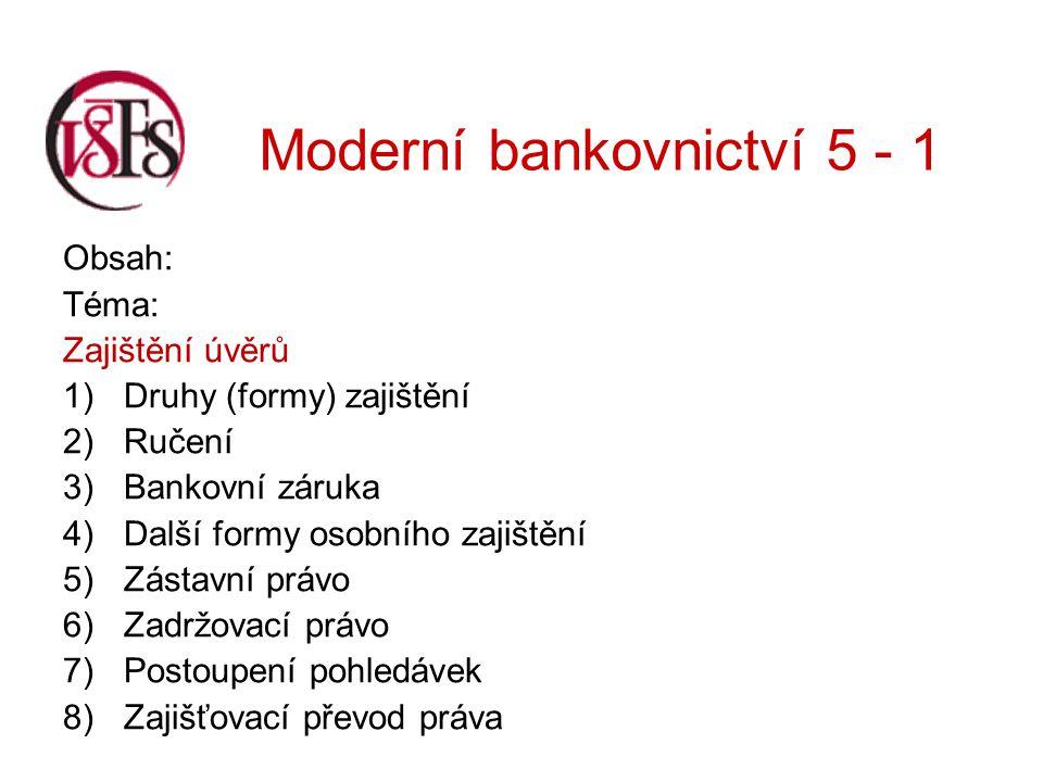 Moderní bankovnictví 5 - 1 Výkon zástavního práva: Nastává tehdy, pokud původní pohledávka zástavního věřitele není splněna včas a řádně.