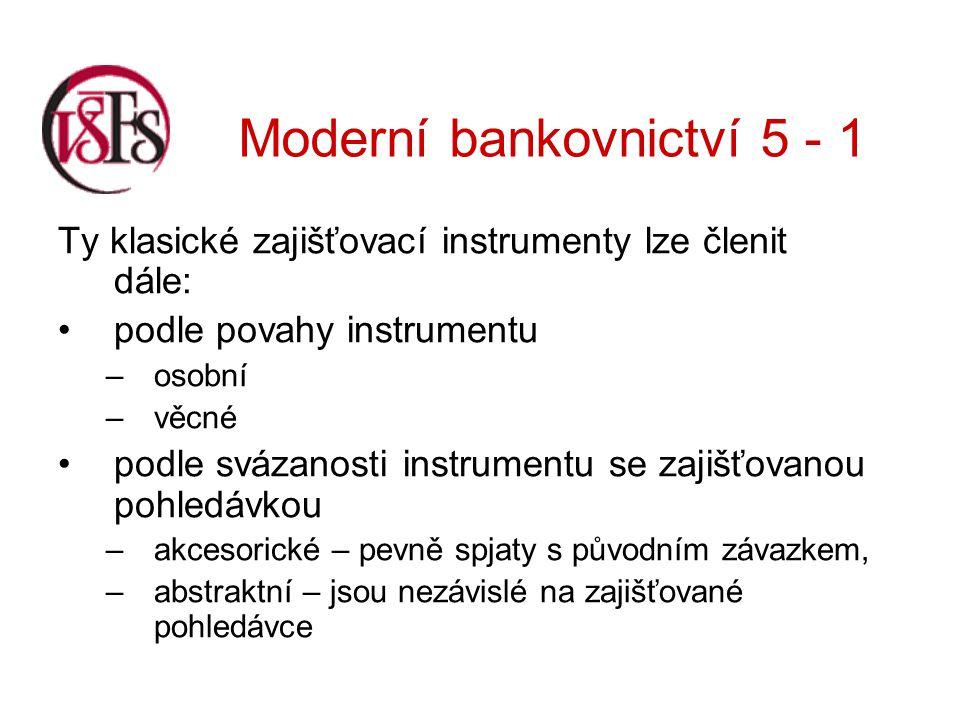 Moderní bankovnictví 5 - 1 Krátkodobě lze zastavit spotřební zboží, ale banky opět tuto možnost dnes již nevyužívají.