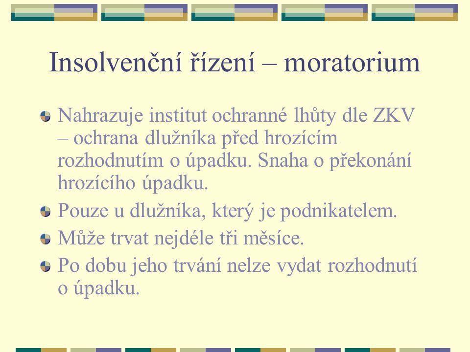 Insolvenční řízení – moratorium Nahrazuje institut ochranné lhůty dle ZKV – ochrana dlužníka před hrozícím rozhodnutím o úpadku.