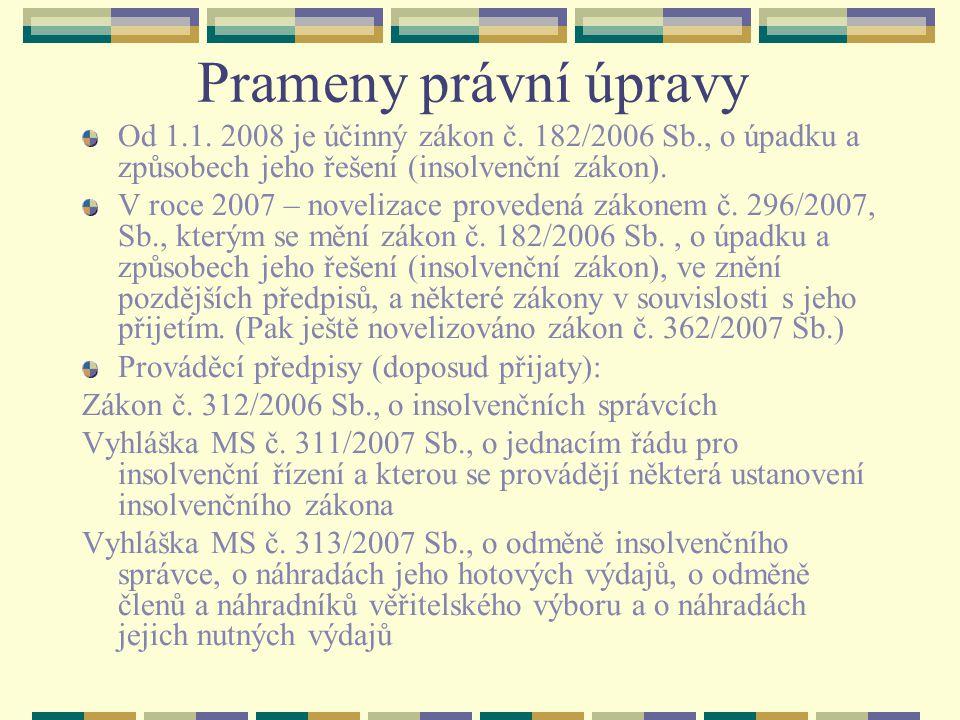 Insolvenční zákon - systematika Část první Obecná ustanovení Hlava I.