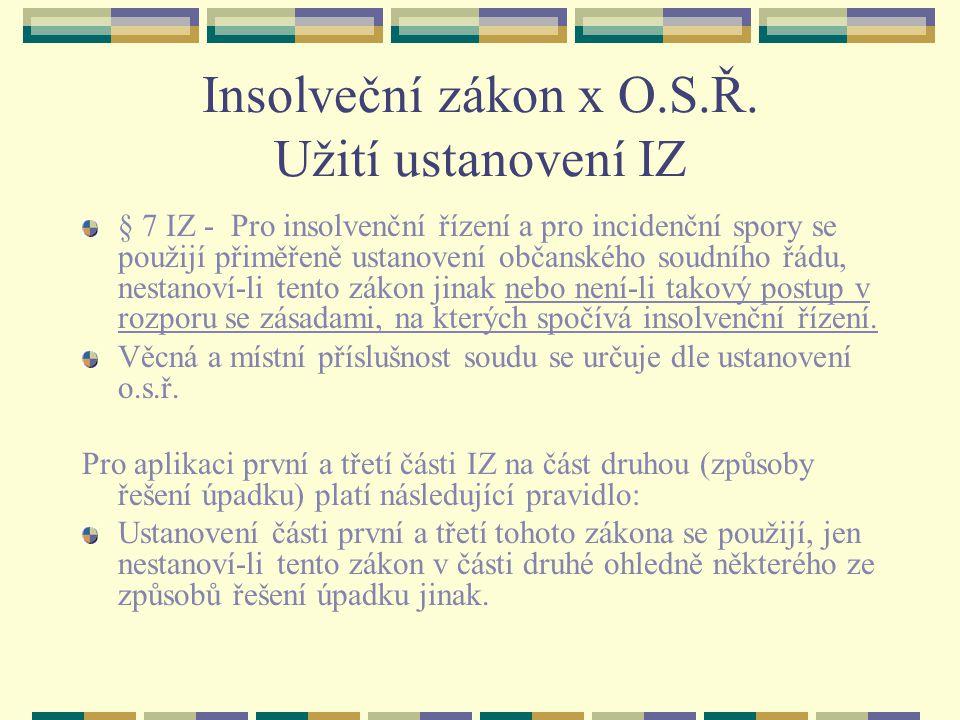 Insolveční zákon x O.S.Ř.