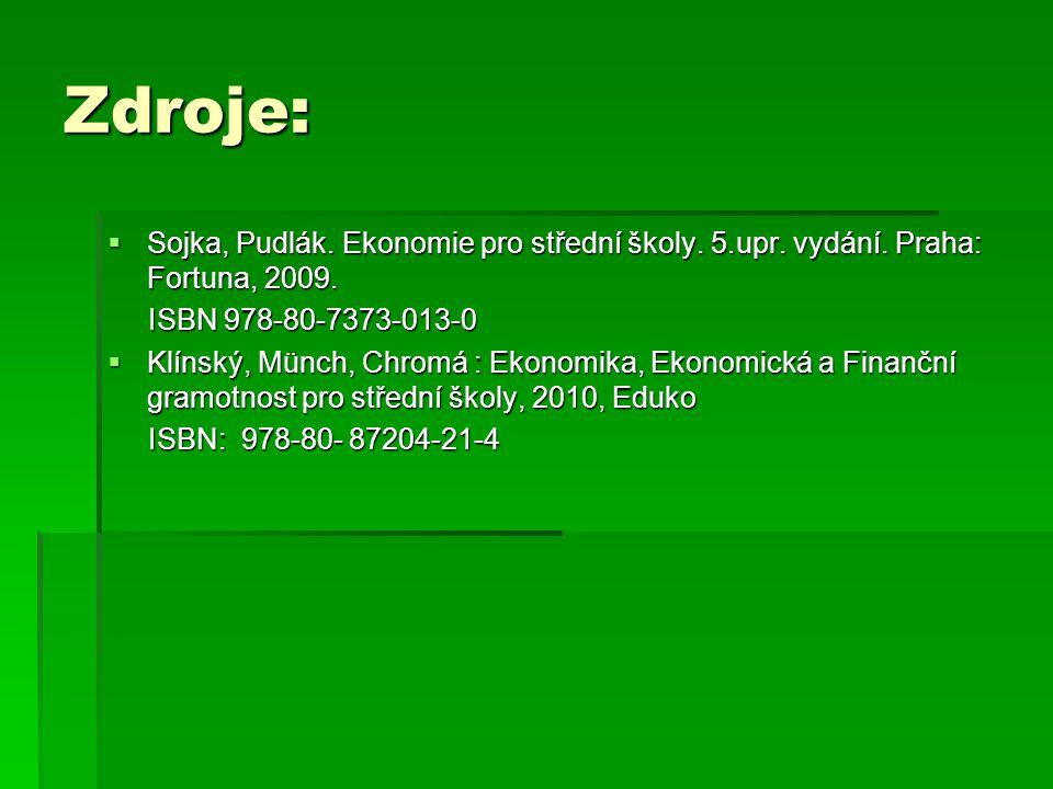 Zdroje:  Sojka, Pudlák. Ekonomie pro střední školy. 5.upr. vydání. Praha: Fortuna, 2009. ISBN 978-80-7373-013-0 ISBN 978-80-7373-013-0  Klínský, Mün