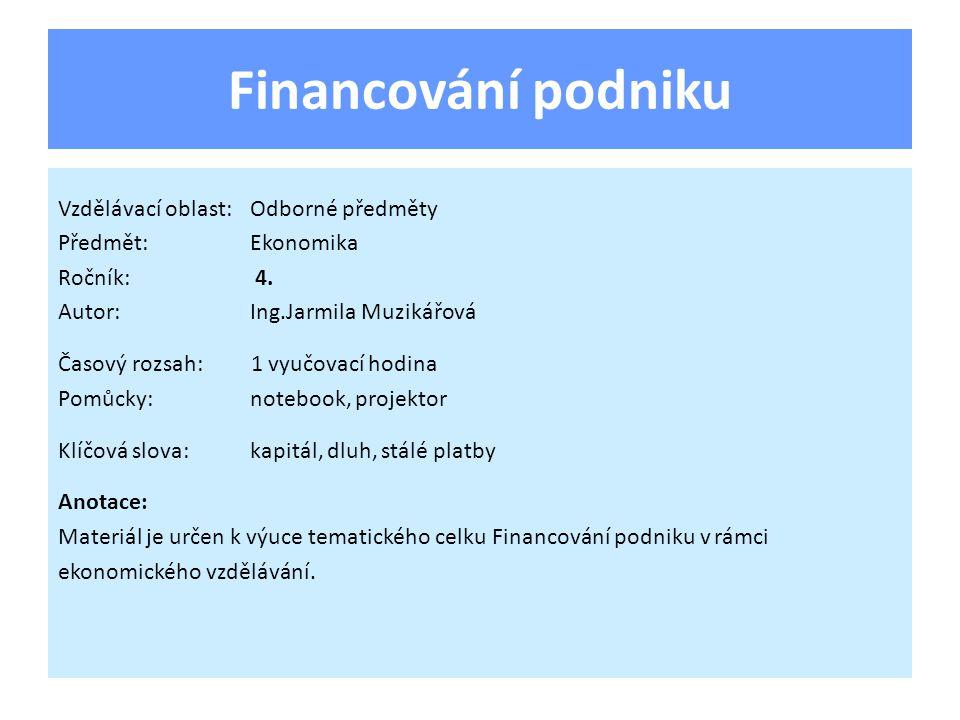 Financování podniku Vzdělávací oblast:Odborné předměty Předmět:Ekonomika Ročník: 4.