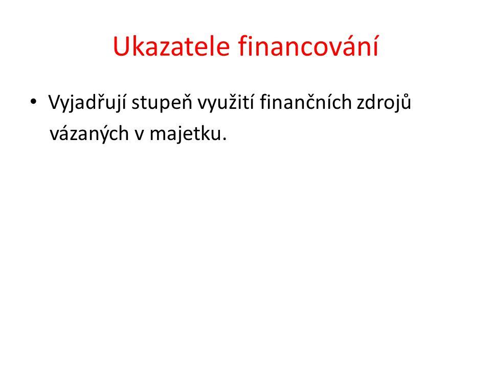 Ukazatele financování Vyjadřují stupeň využití finančních zdrojů vázaných v majetku.