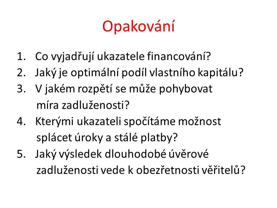 Opakování 1.Co vyjadřují ukazatele financování. 2.Jaký je optimální podíl vlastního kapitálu.
