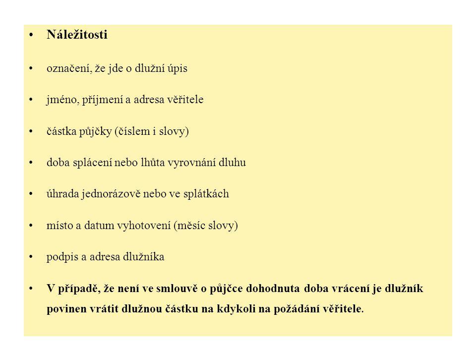 Dlužní úpis Potvrzuji tímto, že jsem si dnešního dne půjčil od Josefa Smolíka, bytem Horní 12, 41501 Teplice částku 40.000,- Kč (slovy: Čtyřicettisíc korun českých).