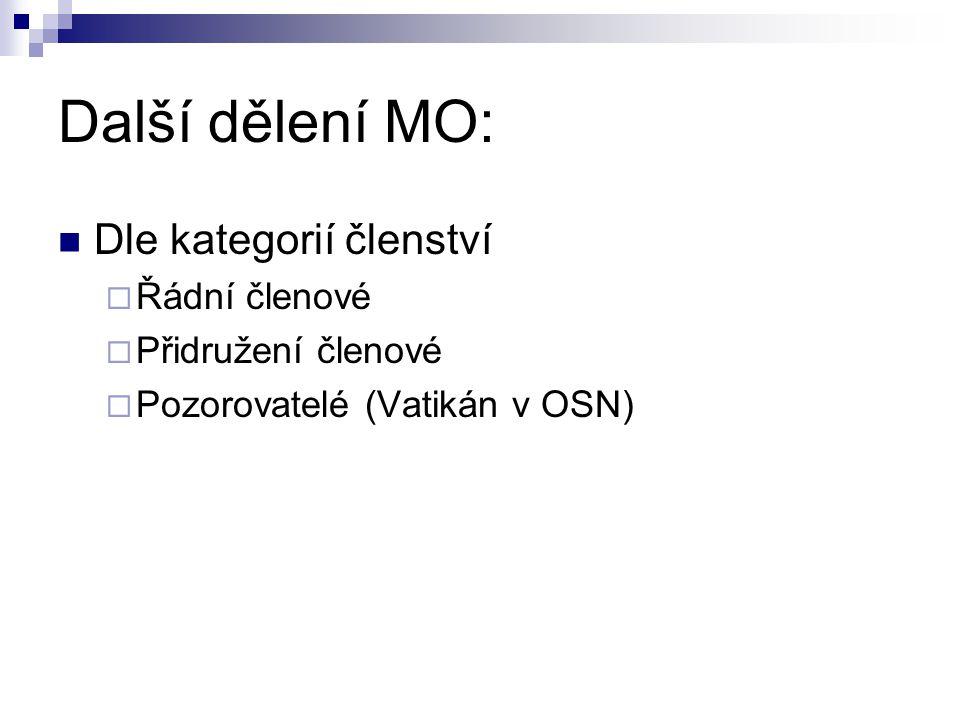Další dělení MO: Dle kategorií členství  Řádní členové  Přidružení členové  Pozorovatelé (Vatikán v OSN)