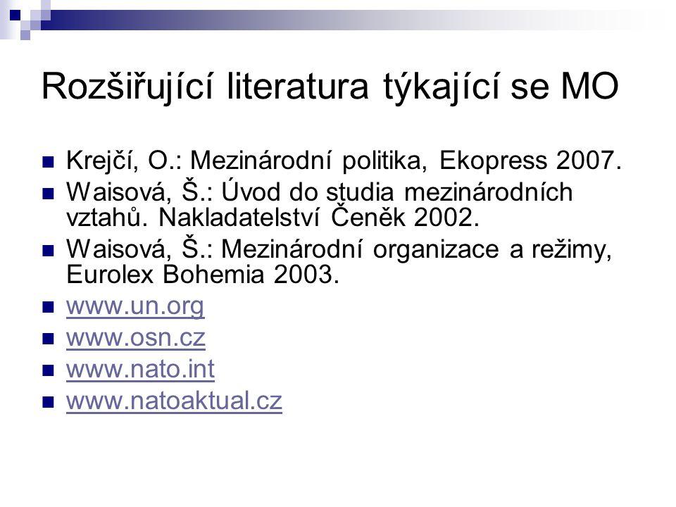 Rozšiřující literatura týkající se MO Krejčí, O.: Mezinárodní politika, Ekopress 2007. Waisová, Š.: Úvod do studia mezinárodních vztahů. Nakladatelstv