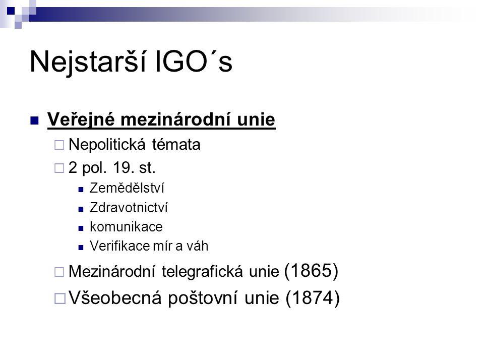 Nejstarší IGO´s Veřejné mezinárodní unie  Nepolitická témata  2 pol.