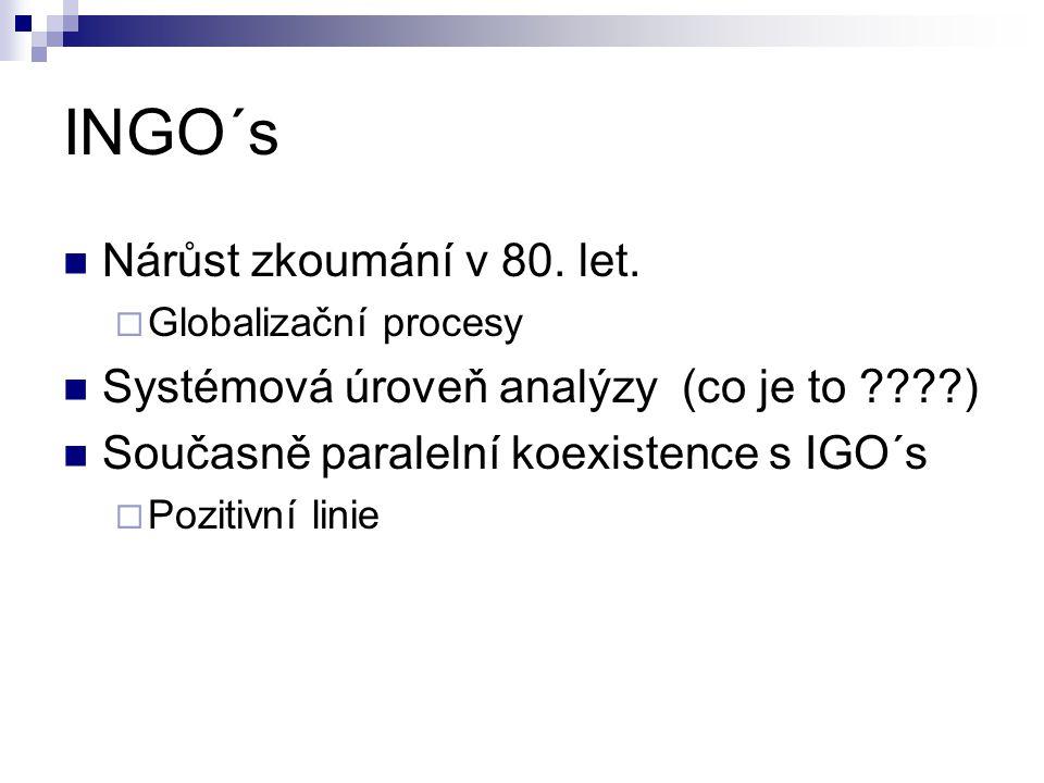 INGO´s Nárůst zkoumání v 80. let.  Globalizační procesy Systémová úroveň analýzy (co je to ????) Současně paralelní koexistence s IGO´s  Pozitivní l