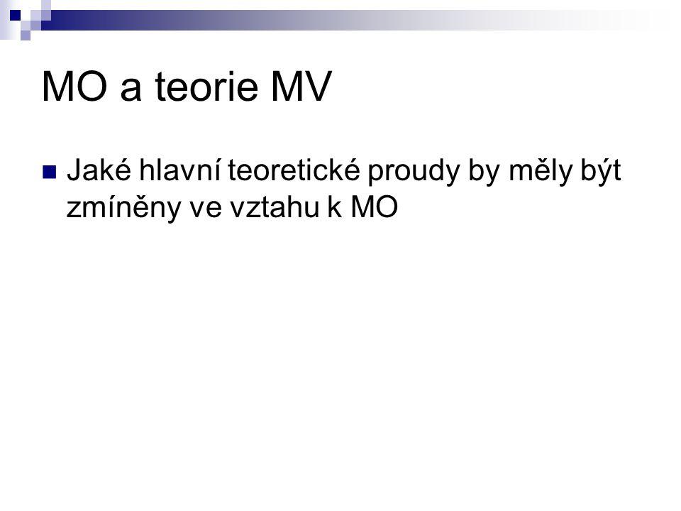 MO a teorie MV Jaké hlavní teoretické proudy by měly být zmíněny ve vztahu k MO