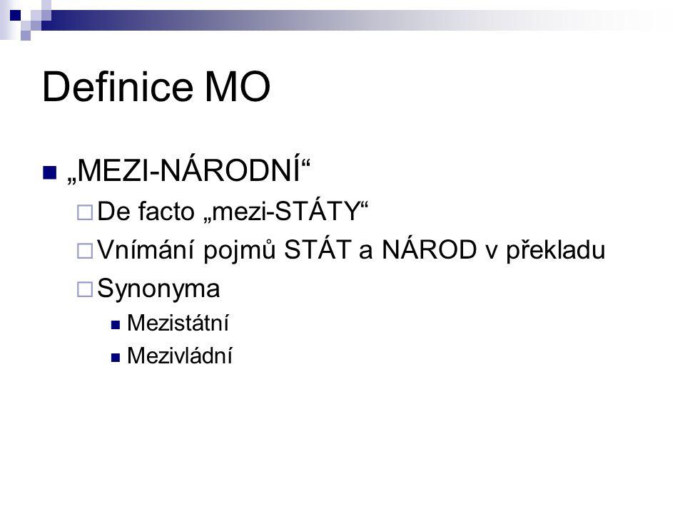 """Definice MO """"MEZI-NÁRODNÍ  De facto """"mezi-STÁTY  Vnímání pojmů STÁT a NÁROD v překladu  Synonyma Mezistátní Mezivládní"""