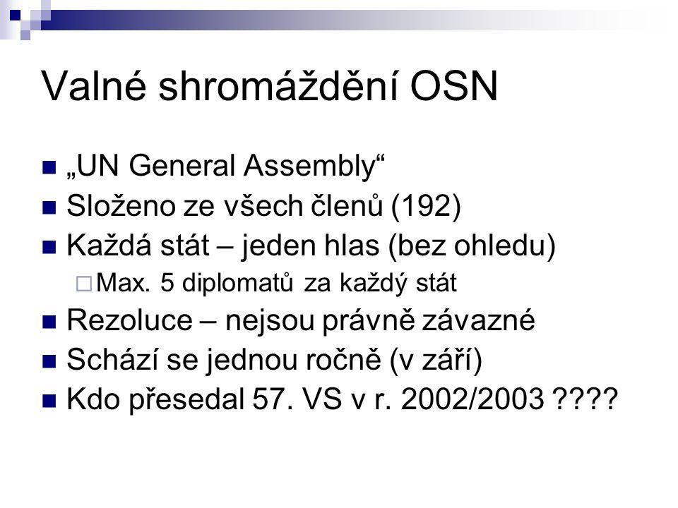 """""""UN General Assembly"""" Složeno ze všech členů (192) Každá stát – jeden hlas (bez ohledu)  Max. 5 diplomatů za každý stát Rezoluce – nejsou právně záva"""