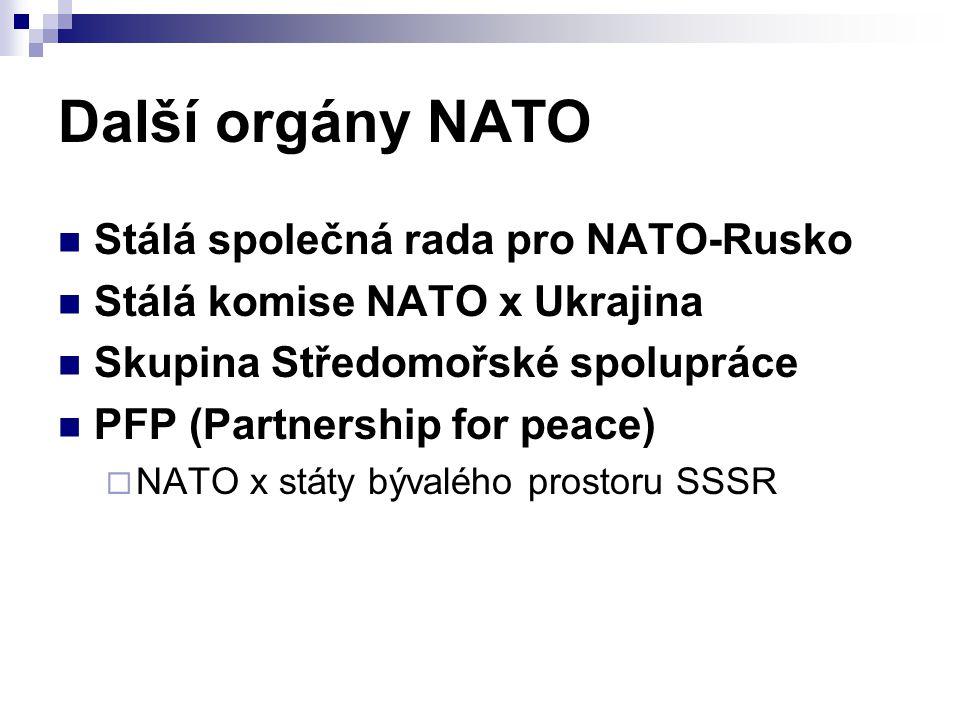 Další orgány NATO Stálá společná rada pro NATO-Rusko Stálá komise NATO x Ukrajina Skupina Středomořské spolupráce PFP (Partnership for peace)  NATO x státy bývalého prostoru SSSR