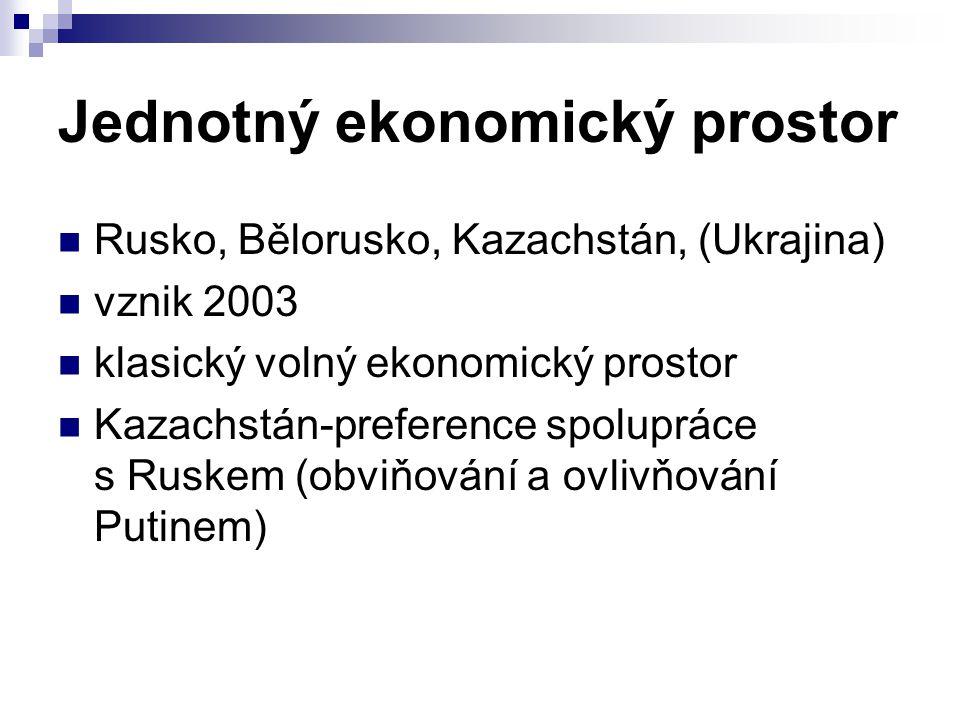 Jednotný ekonomický prostor Rusko, Bělorusko, Kazachstán, (Ukrajina) vznik 2003 klasický volný ekonomický prostor Kazachstán-preference spolupráce s R