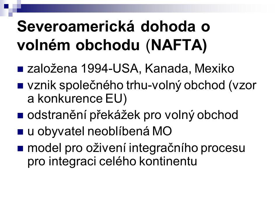 Severoamerická dohoda o volném obchodu (NAFTA) založena 1994-USA, Kanada, Mexiko vznik společného trhu-volný obchod (vzor a konkurence EU) odstranění překážek pro volný obchod u obyvatel neoblíbená MO model pro oživení integračního procesu pro integraci celého kontinentu