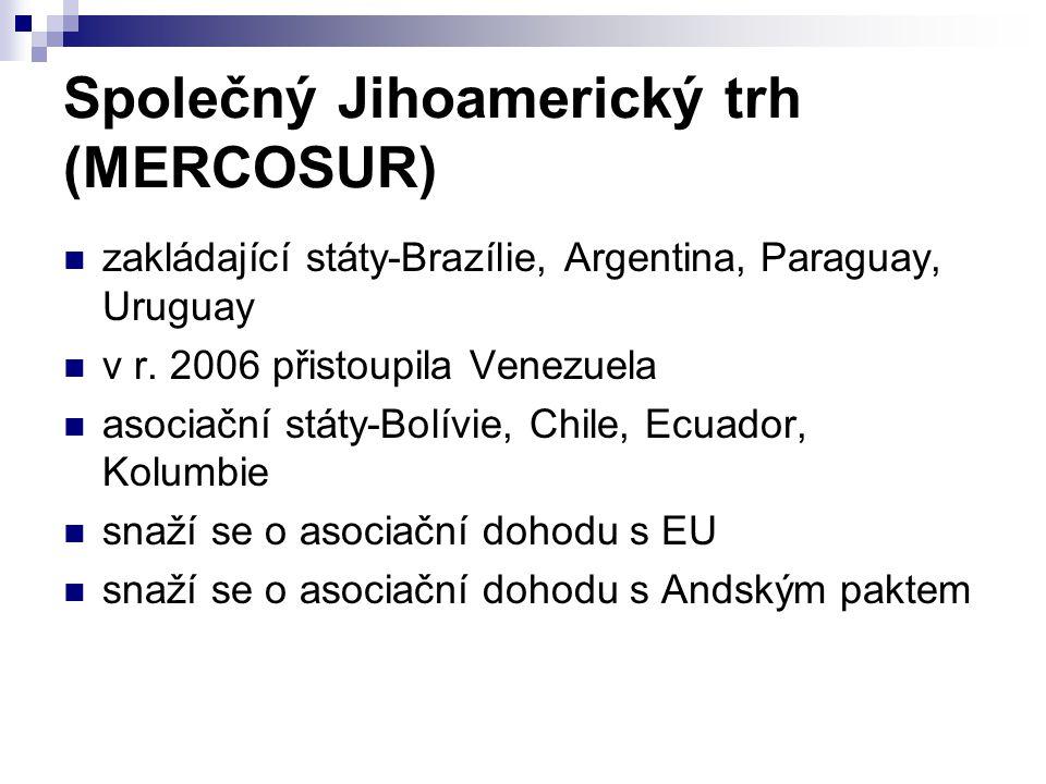 Společný Jihoamerický trh (MERCOSUR) zakládající státy-Brazílie, Argentina, Paraguay, Uruguay v r.