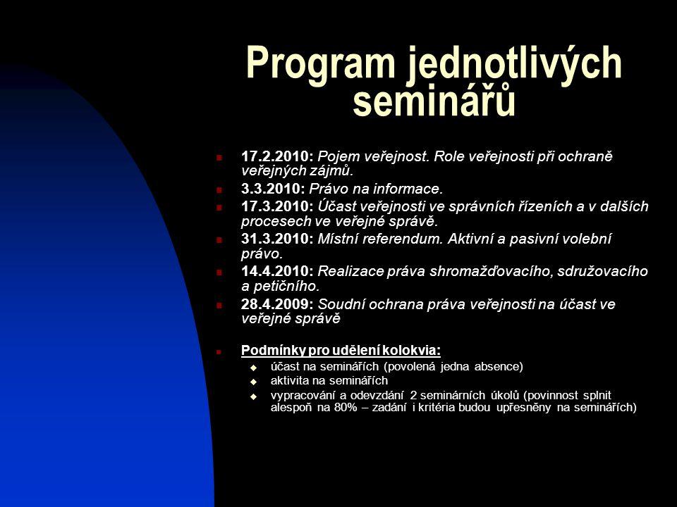 Program jednotlivých seminářů 17.2.2010: Pojem veřejnost.