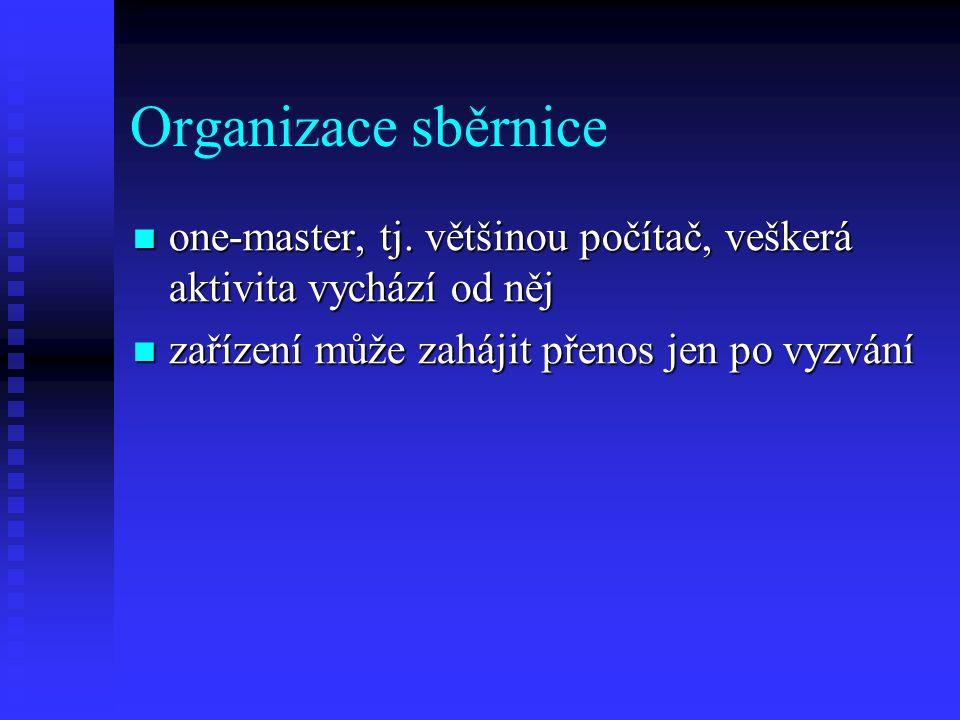 Organizace sběrnice one-master, tj. většinou počítač, veškerá aktivita vychází od něj one-master, tj. většinou počítač, veškerá aktivita vychází od ně