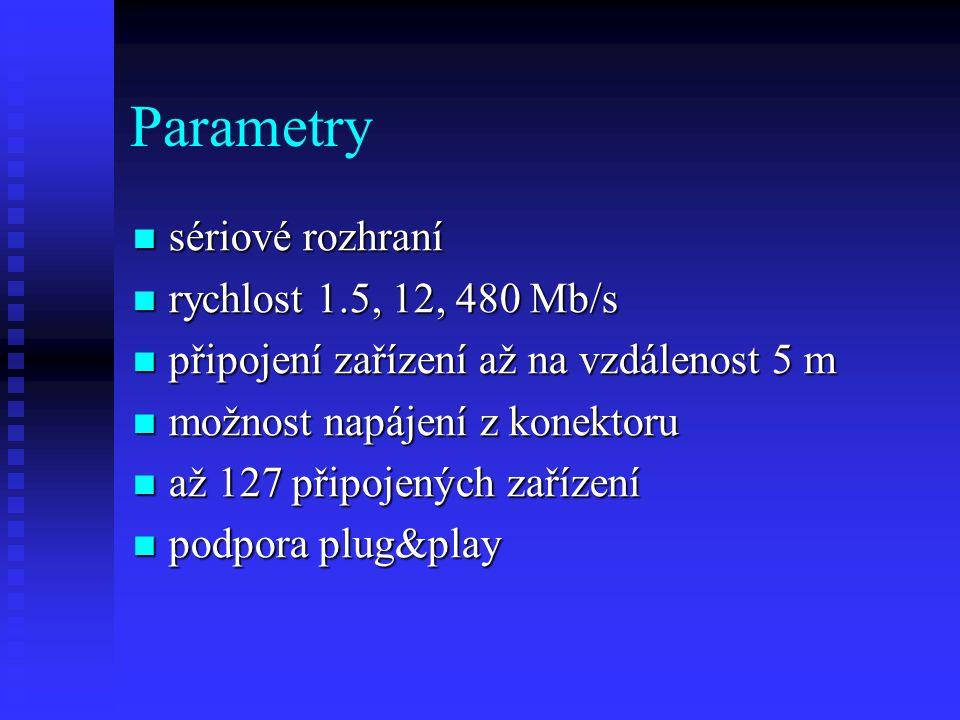 Parametry sériové rozhraní sériové rozhraní rychlost 1.5, 12, 480 Mb/s rychlost 1.5, 12, 480 Mb/s připojení zařízení až na vzdálenost 5 m připojení zařízení až na vzdálenost 5 m možnost napájení z konektoru možnost napájení z konektoru až 127 připojených zařízení až 127 připojených zařízení podpora plug&play podpora plug&play