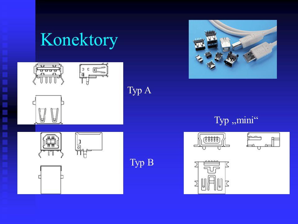 "Konektory Typ A Typ B Typ ""mini"
