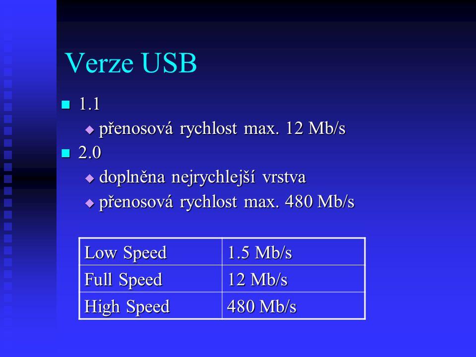 Verze USB 1.1 1.1  přenosová rychlost max.