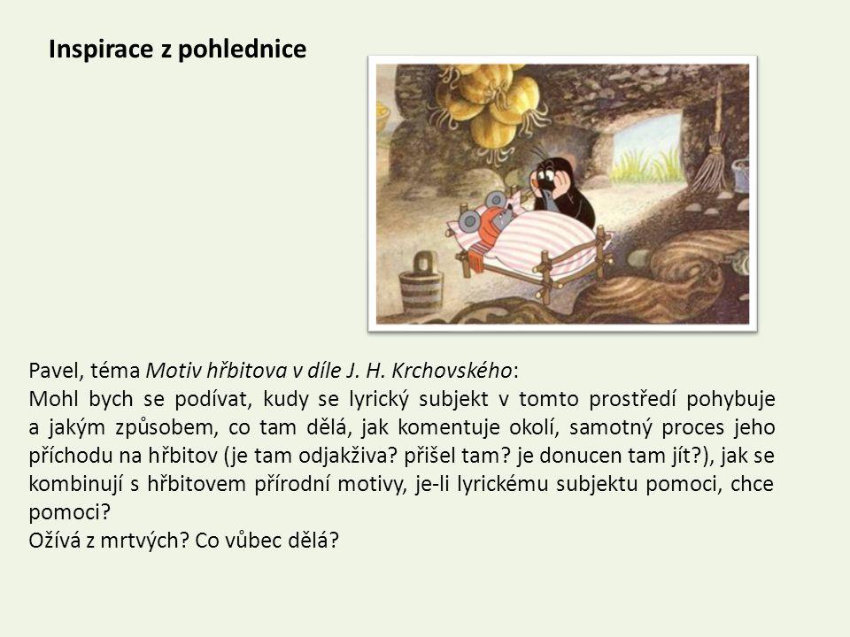 Inspirace z pohlednice Pavel, téma Motiv hřbitova v díle J.