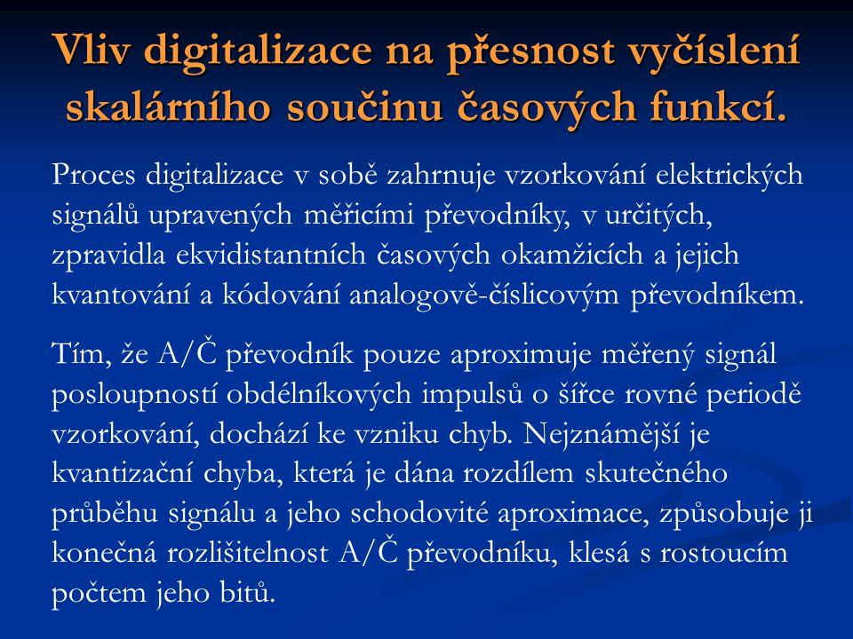 Vliv digitalizace na přesnost vyčíslení skalárního součinu časových funkcí. Proces digitalizace v sobě zahrnuje vzorkování elektrických signálů uprave