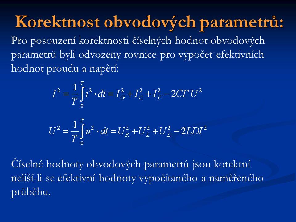 Korektnost obvodových parametrů: Pro posouzení korektnosti číselných hodnot obvodových parametrů byli odvozeny rovnice pro výpočet efektivních hodnot
