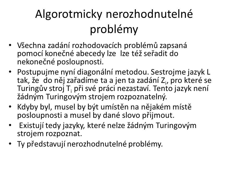 Algorotmicky nerozhodnutelné problémy Všechna zadání rozhodovacích problémů zapsaná pomocí konečné abecedy lze lze též seřadit do nekonečné posloupnos