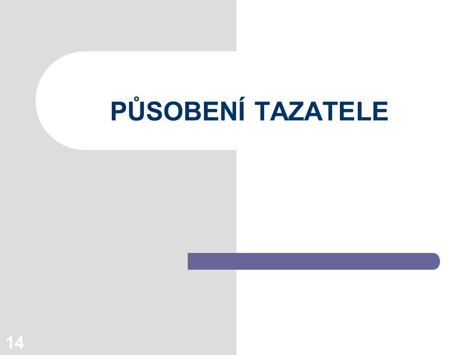 14 PŮSOBENÍ TAZATELE