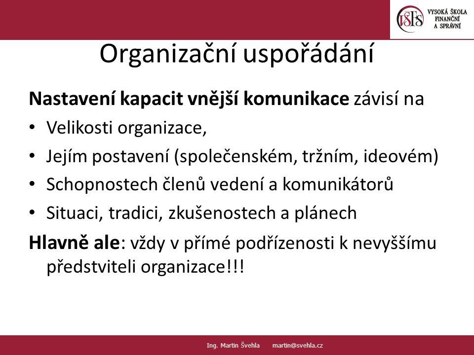 Organizační uspořádání Nastavení kapacit vnější komunikace závisí na Velikosti organizace, Jejím postavení (společenském, tržním, ideovém) Schopnostec
