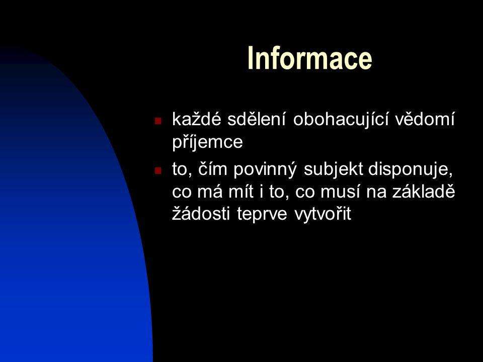 Informace každé sdělení obohacující vědomí příjemce to, čím povinný subjekt disponuje, co má mít i to, co musí na základě žádosti teprve vytvořit