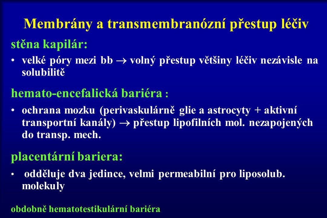 Membrány a transmembranózní přestup léčiv stěna kapilár: velké póry mezi bb  volný přestup většiny léčiv nezávisle na solubilitě hemato-encefalická b