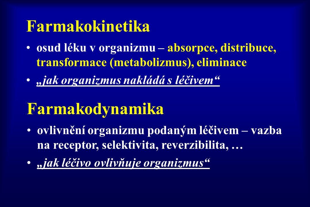 """Farmakokinetika osud léku v organizmu – absorpce, distribuce, transformace (metabolizmus), eliminace """"jak organizmus nakládá s léčivem"""" Farmakodynamik"""